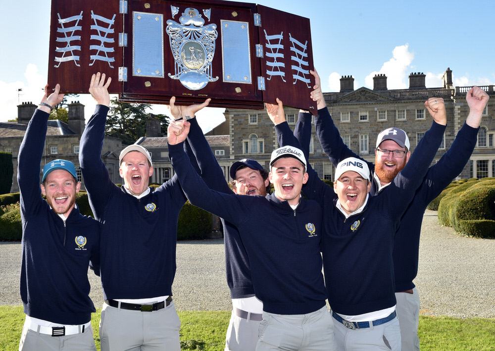 Warrenpoint Barton Shield team members celebrate (from left) Stephen Coulter, Paul Reavey, Ryan Gribben, Jamie Fletcher, Colm Campbell and  David Barron after their victory in the final of the AIG Barton Shield at Carton House (21/09/2017). Picture by  Pat Cashman
