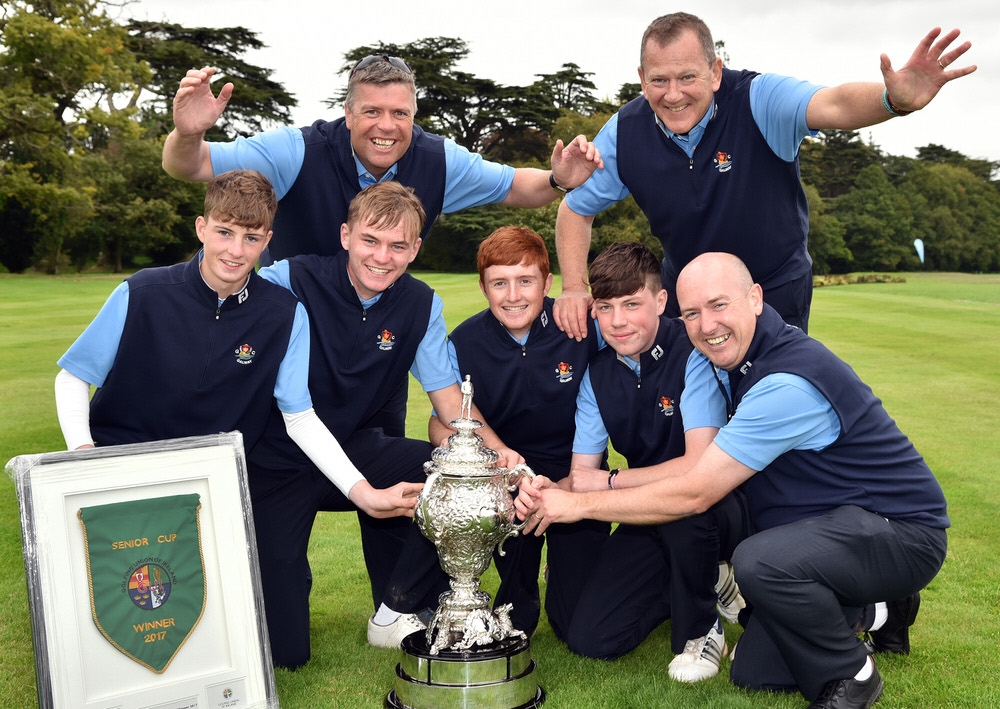 Galway Golf Club winners of the AIG Senior Cup at Carton House today (23/09/2017) in front (from left) Luke O'Neill, Liam Nolan, Ronan Mullarney, Liam Power and Joe Lyons with at back Gerry Cox (Assistant Team Captain) and Kieran O' Mahony (Team Captain) after their victory over Limerick Golf Club. Picture by  Pat Cashman