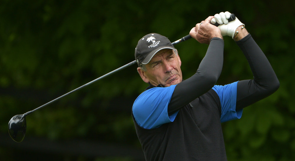 Hugh Smyth (Mourne) bunkered at the 18th green during the final round of the Irish Seniors Amateur Open Championship at County Tipperary Golf Club (19/05/2017). Picture by  Pat Cashman