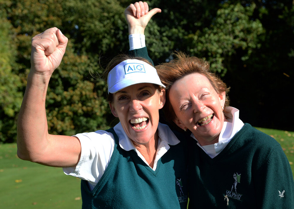 Lee Valley's Deirdre Lee with her caddy Shelly Murray after winning her match on the 19th green to win the Minor Cup at the AIG Ladies Cups & Shields at Malone Golf Club (29/09/2017). Picture by  Pat Cashman