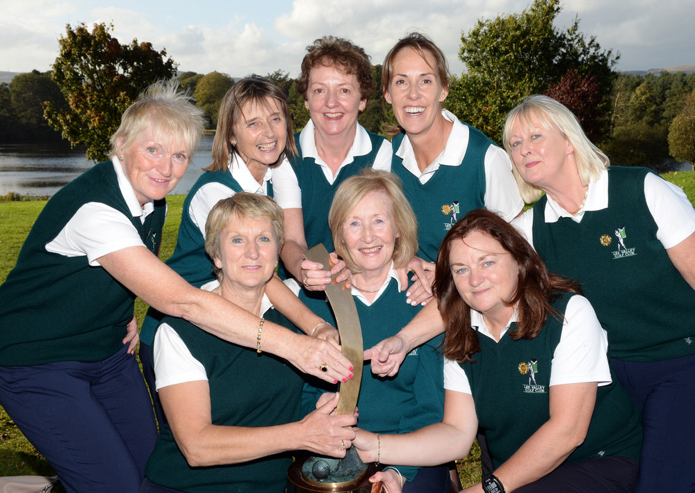 Angela Corcoran (Team Manager) of the Lee Valley Minor Cup team with team members ( from left) Yvonne Barrett, Breda O'Callaghan, Helen Gough, Jane O'Neill, Deirdre Lee, Aideen Fitzgerald and Rose Driscoll after their victory at the AIG Ladies Cups & Shields at Malone Golf Club. Picture by  Pat Cashman