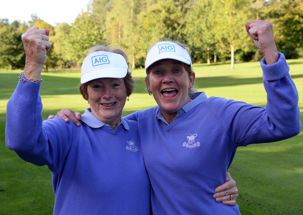 Patricia Browne (Cahir Park) with her caddy Chris Noonan after holing the winning putt on the 23rd green in the final of the Intermediate Cup at the AIG Ladies Cups & Shields All Ireland Finals at Malone Golf Club (30/09/2017). Picture by  Pat Cashman