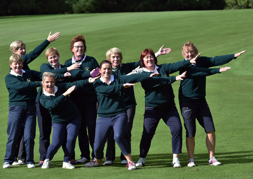 Portumna Ladies Team (from left) Kathleen Lynch, Brid Kelly, Mary Kelly, Anne Fahy (Team Manager), Pauline McEvoy, Mary McElroy, Mary Madden, Carmel Cunningham and Bernie Kilmartin celebrate winning the Junior Foursomes at the AIG Ladies Cups & Shields All Ireland Finals at Malone Golf Club (30/09/2017). Picture by  Pat Cashman