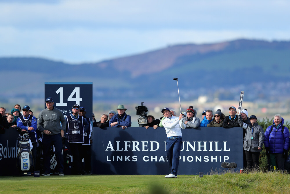 Paul Dunne of Ireland tees off on the 14th  during day one of the 2017 Alfred Dunhill Championship at The Old Course on October 5, 2017 in St Andrews, Scotland.  (Photo by Richard Heathcote/Getty