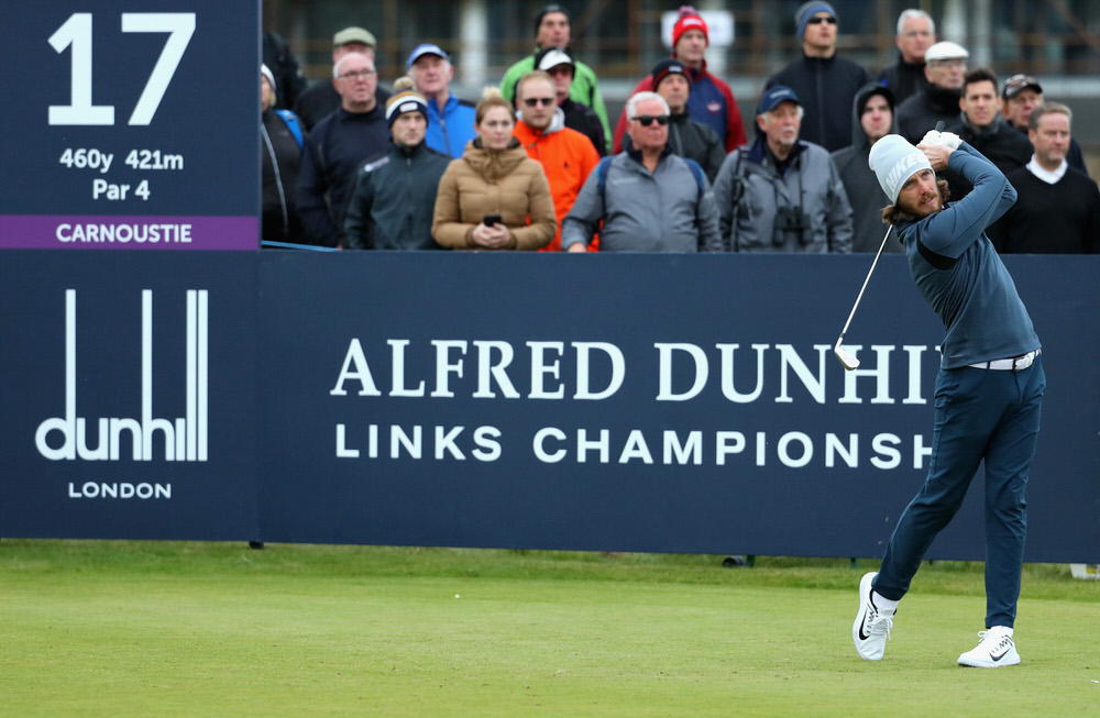 Tommy Fleetwood of England tees off on the 17th during day two of the 2017 Alfred Dunhill Championship at Carnoustie on October 6, 2017 in St Andrews, Scotland.  (Photo by Warren Little/Getty Images