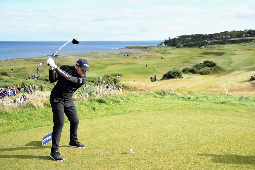 ST ANDREWS, SCOTLAND - OCTOBER 07:  Tyrrell Hatton of England tees off on the 7th during day three of the 2017 Alfred Dunhill Championship at Kingsbarns on October 7, 2017 in St Andrews, Scotland.  (Photo by Ross Kinnaird/Getty Images)