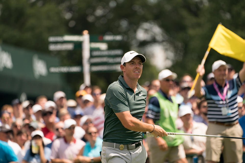 Rory McIlroy of  Northern Ireland watches his tee shot on the first hole during Round Three for the 99th PGA Championship held at Quail Hollow Club on August 12, 2017 in Charlotte, North Carolina. (Montana Pritchard/PGA of America)
