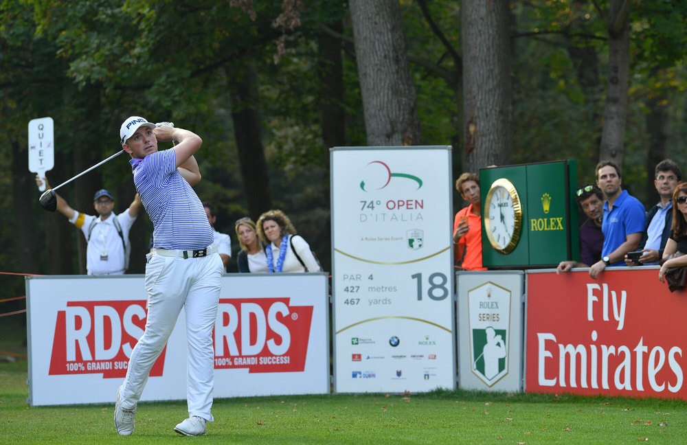 MONZA, ITALY - OCTOBER 14: Matt Wallace of England plays a shot during the third round of the Italian Open at Golf Club Milano - Parco Reale di Monza on October 14, 2017 in Monza, Italy. (Photo by Stuart Franklin/Getty Images)