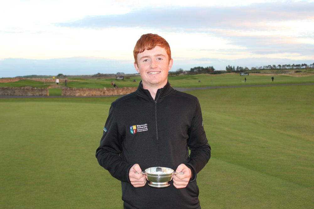 Maynooth University's Ronan Mullarney with the Fife Students' Open trophy. Credit: Cal Carson Golf Agency