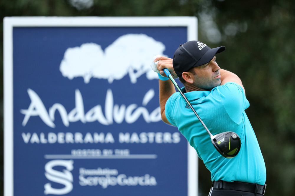 CADIZ, SPAIN - OCTOBER 19:  Spain's Sergio Garcia tees off on the 2nd hole during day one of the Andalucia Valderrama Masters at Real Club Valderrama on October 19, 2017 in Cadiz, Spain.  (Photo by Warren Little/Getty Images)