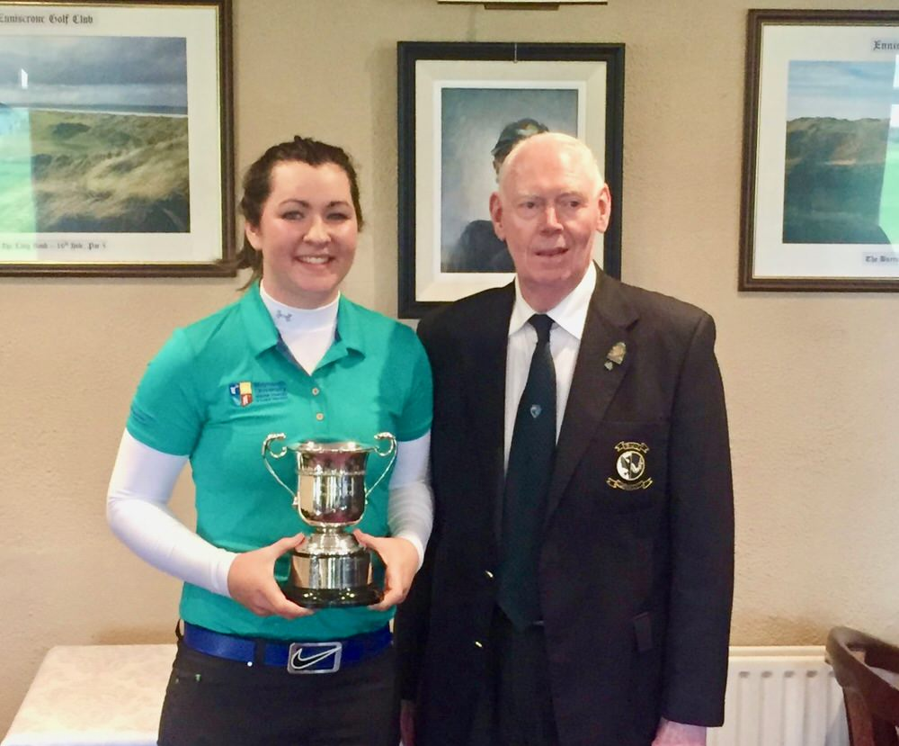 Jim McGovern (Chairman Connacht Golf) presents the Irish Intervarsity Championship women's trophy to Maynooth University's Ciara Casey. Picture ©  Harrington Scholars‏ @MU_Golf