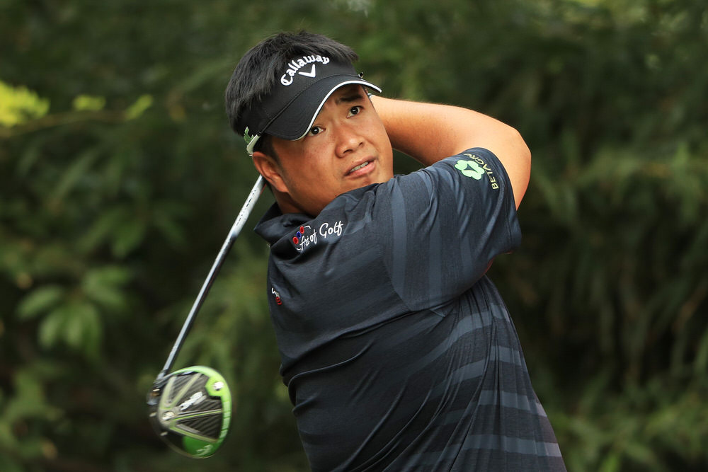 Kiradech Aphibarnrat (Thailand) drives on the ninth during the first round of the WGC - HSBC Champions at Sheshan International Golf Club. Photo: Andrew Redington/Getty Images