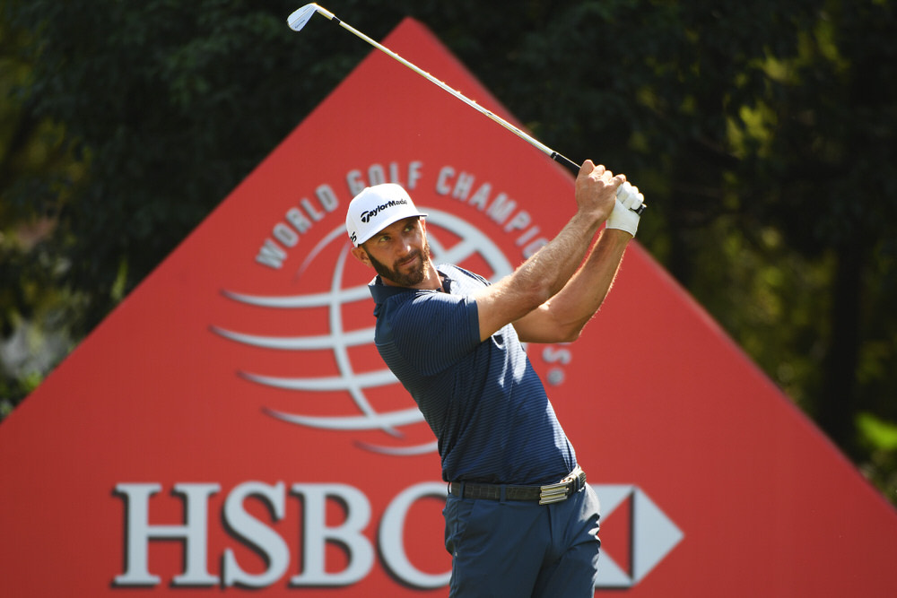 Dustin Johnson plays his shot from the sixth tee during the third round of the WGC HSBC Champions at Sheshan International Golf Club. Photo by Ross Kinnaird/Getty Images