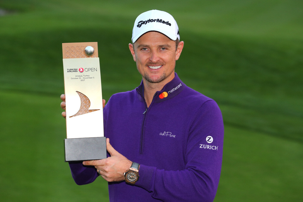 ANTALYA, TURKEY - NOVEMBER 05:  Justin Rose of England poses with the trophy after his victory during the final round of the Turkish Airlines Open at the Regnum Carya Golf & Spa Resort on November 5, 2017 in Antalya, Turkey.  (Photo by Warren Little/Getty Images)