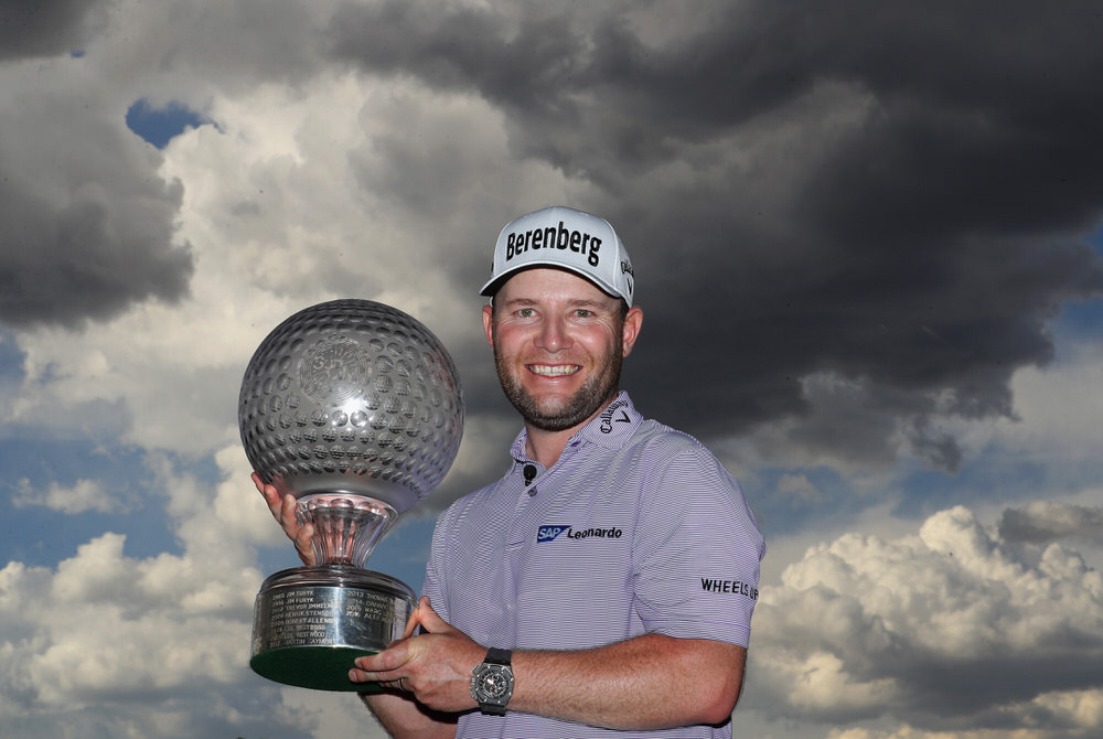 SUN CITY, SOUTH AFRICA - NOVEMBER 12:  Branden Grace of South Africa poses with the trophy after winning the Nedbank Golf Challenge at Gary Player CC. 12 November 2017 in Sun City, South Africa.  Photo by Warren Little/Getty Images
