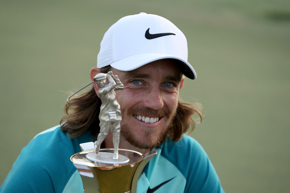 DUBAI, UNITED ARAB EMIRATES - NOVEMBER 19:  Tommy Fleetwood of England poses with the Race to Dubai trophy after the final round of the 2017 DP World Tour Championship on the Earth Course at Jumeirah Golf Estates. Photo: David Cannon/Getty Images