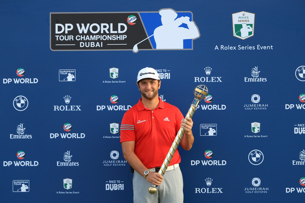 Jon Rahm of Spain poses with the trophy following his victory during the final round of the DP World Tour Championship. Photo: Andrew Redington/Getty Images