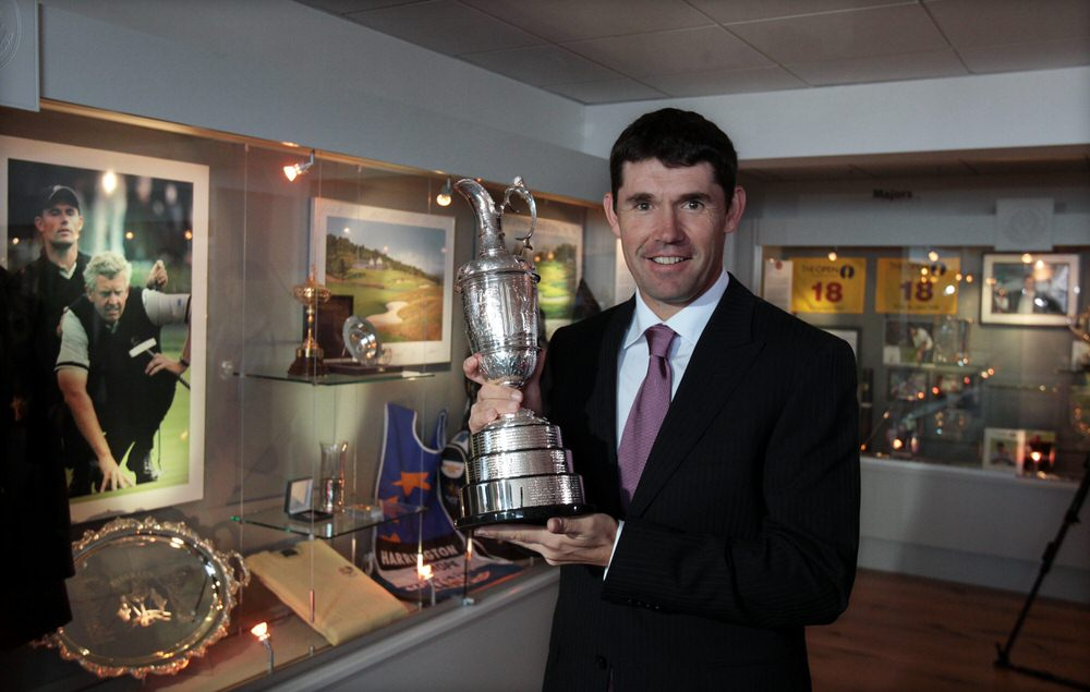 Pádraig Harrington shows off the Claret Jug in the Harrington Room at Stackstown