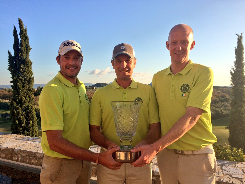 Simon Thornton, David Higgins and Mark Staunton with the ITC trophy at Costa Navarino in Greece