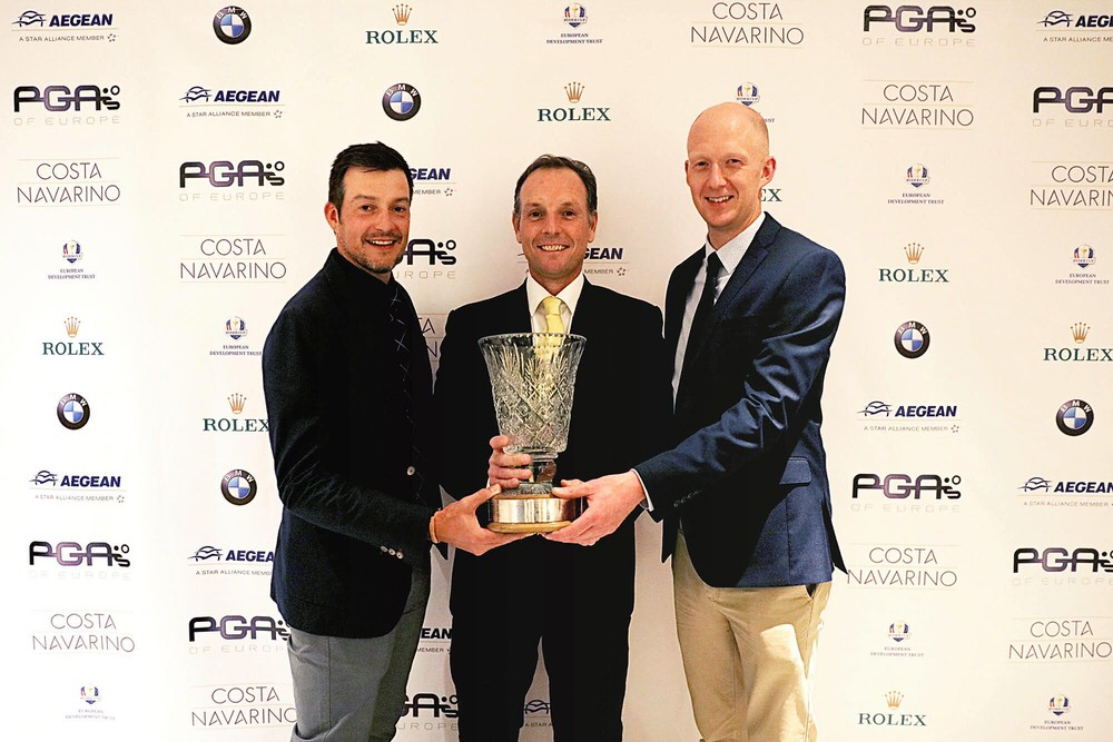 Simon Thornton, David Higgins, Mark Staunton with the 2017 International Team Championship. Photo: PGAs of Europe / Johan Hampf