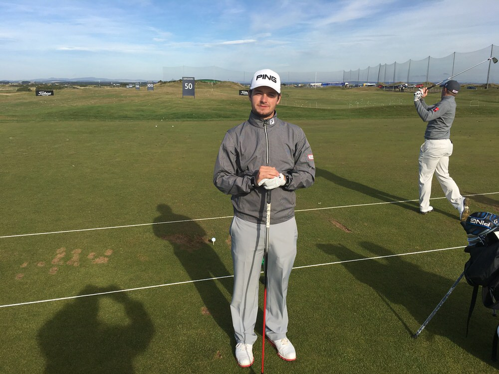 Jack Hume hits balls alongside Paul Dunne before his professional debut in the 2016 Alfred Dunhill Links Championship in Scotland
