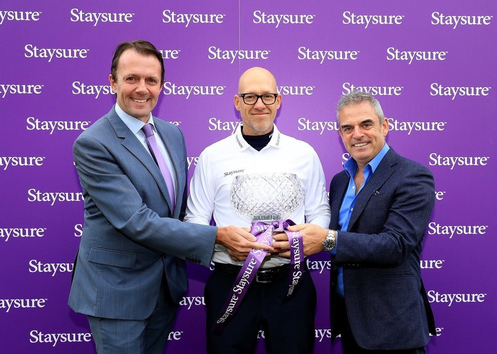 David MacLaren, Head of the European Senior Tour, Ryan Howsam, Chairman of Staysure, and Paul McGinley, 2014 Ryder Cup Captain. Picture: Getty Images