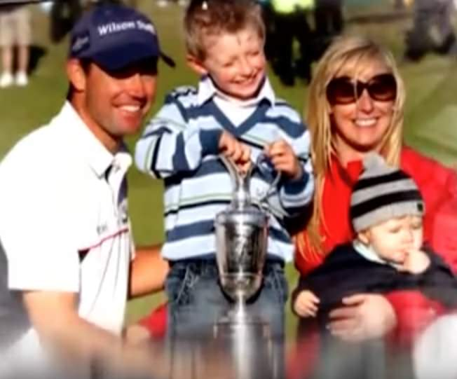 Padraig and Caroline Harrington with sons Paddy (centre) and Ciarán following the 2007 Open Championship at Carnoustie