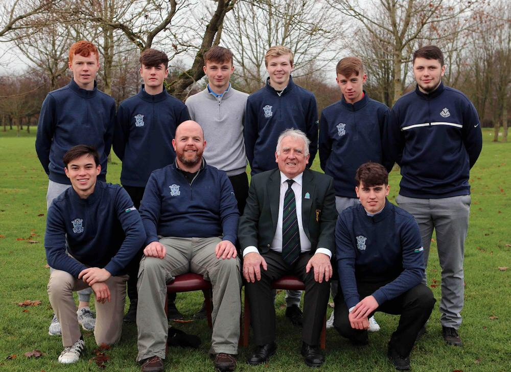 Runners-up Malahide Community College: Sean Guiden, Josh McCabe, Jack Keogh, Shane O'Neill, Ben Gaynor, Luke Dalglish, Liam Cully, Team Manager Michael O'Sullivan, Chairman of Leinster Golf, John Ferriter and Gavin Glennon at the Leinster Schools Senior Championship Finals at Newbridge Golf Club, Co.Kildare. Image by Jenny Matthews/ Pat Cashman Photography