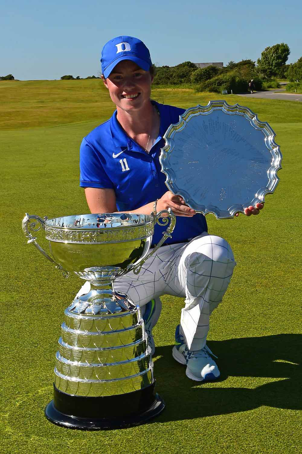 Leona Maguire with the British Ladies Amateur Championship trophies