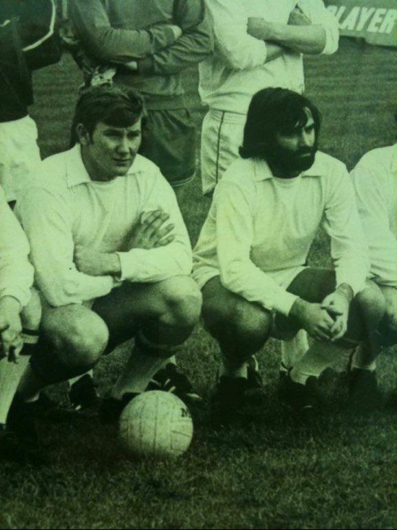 John Carroll (left) lining out for Cork Celtic with George Best