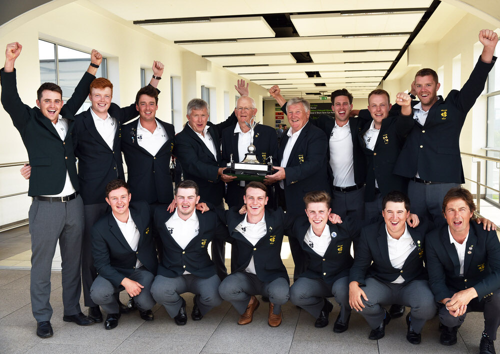 The victorious record winning Irish Home International Golf team arrive at Dublin Airport this morning (19/08/2017). At back back (from left) Conor O'Rourke (Naas), Robin Dawson (Tramore), Colin Fairweather (Knock), John White (Team Manager, Co Armagh), Tony Goode (Team Captain, Lucan), John Carroll (Team Selector, Bandon), Alex Gleeson (Castle), Paul McBride (The Island) and Peter O'Keeffe (Douglas). In front (from left) John Ross Galbraith (Whitehead), Caolan Rafferty (Dundalk), Rowan Lester (Hermitage), Conor Purcell (Portmarnock), Colm Campbell (Warrenpoint) and Neil Manchip ( GUI National Coach). Picture by  Pat Cashman