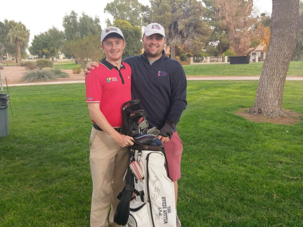 Ronan Mullarney and Jordan Hood, his left wrist strapped after suffering a suspected ligament tear in round one, at the 2017 Patriot All-America Invitational in Arizona