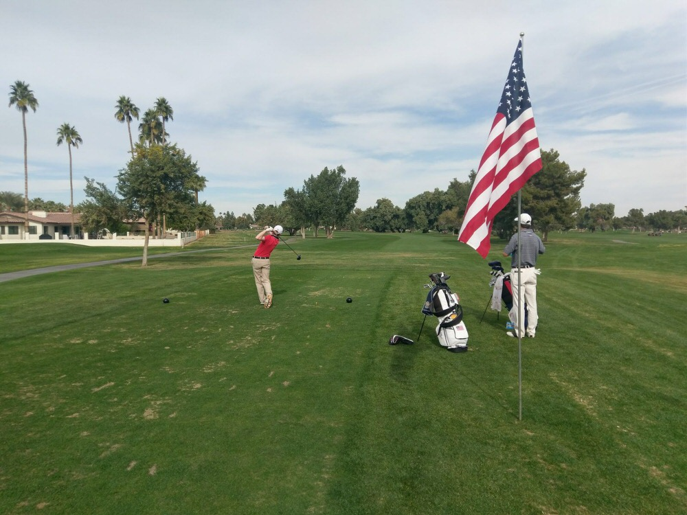 Ronan Mullarney tees off during the 2017 Patriot All-America Invitational