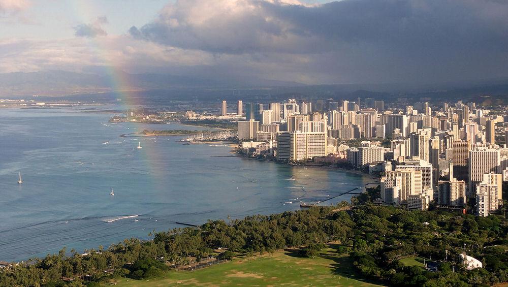 Honolulu viewed from Diamond Head crater,Oahu, Hawaii