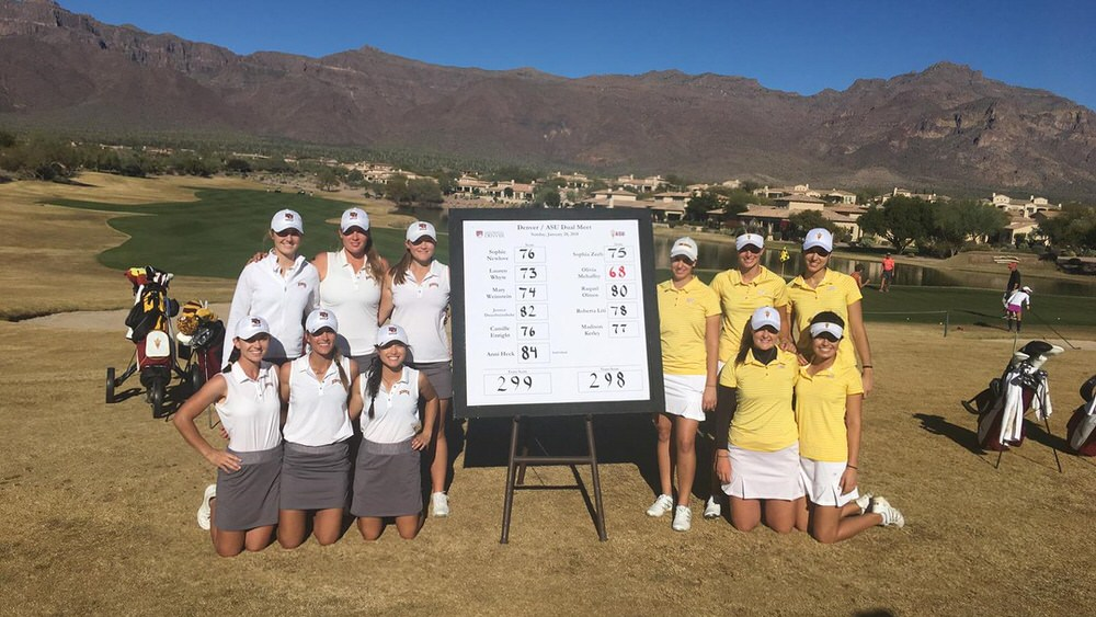Olivia Mehaffey, kneeling second from the right in yellow, follow ASU's one-shot win over Denver