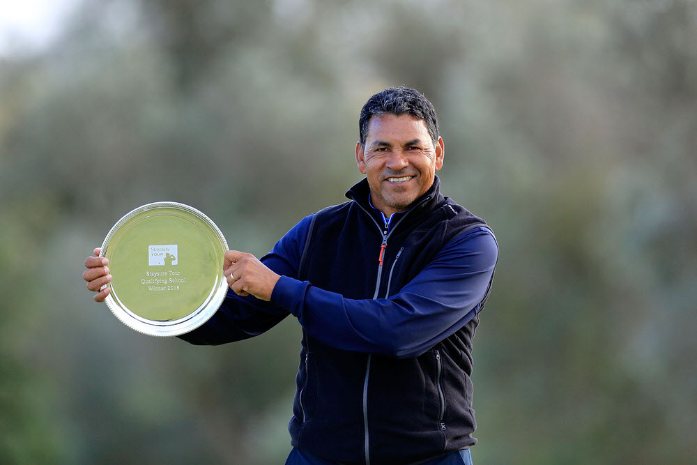 Rafael Gomez of Argentina poses with the trophy after the final round of the Staysure Tour Qualifying School Finals played at Pestana Golf Resort. Photo by Phil Inglis/Getty Images