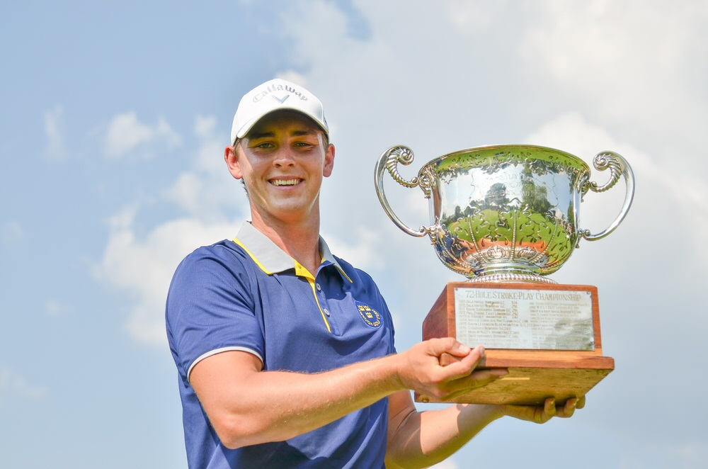 Oliver Gillberg from Sweden set a new 72-hole tournament record with a score of 27-under-par 261 with his victory in the 2018 South African Stroke Play Championship at Pecanwood Golf and Country Club; credit Ernest Blignault.