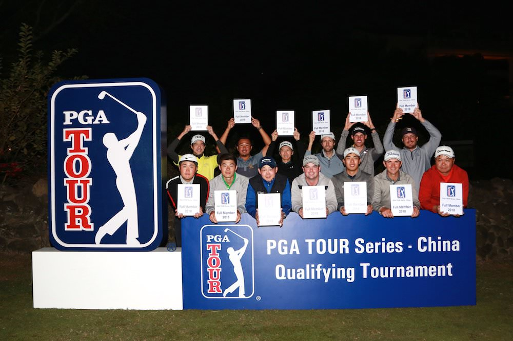 Brian O'Donovan (front row, middle) with his PGA Tour China card
