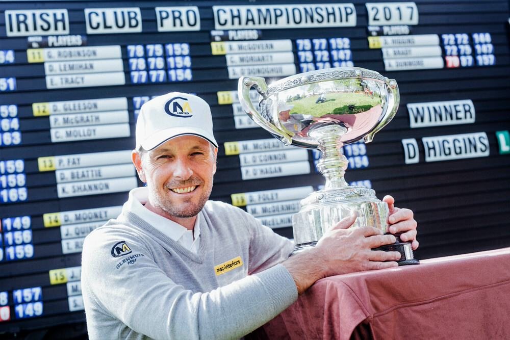 David Higgins shows off the Irish Club Professional trophy at Dromoland Golf & Country Club in 2017