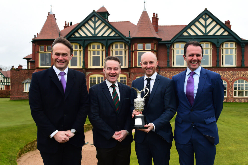 (L-R) R&A Executive Director of Championships Johnnie Cole-Hamilton, Royal Lytham & St Annes Golf Club Chairman of the Championship Committee Alan Ker, Club Secretary Charles Grimley and Head of the Staysure Tour David Maclaren pose with the Senior Open Claret Jug at the announcement of Royal Lytham & St Annes Golf Club as the host venue for the 2019 Senior Open Championship, presented by Rolex. Photo by Richard Martin-Roberts/Getty Images