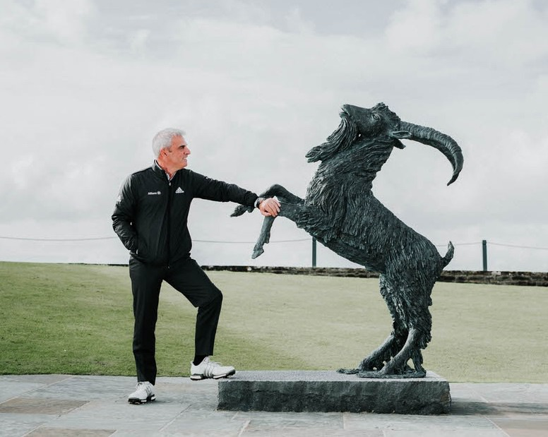 Former Ryder Cup captain Paul McGinley admires the new goat statue behind the first tee at Lahinch ahead of the Legends Day for past South of Ireland champions held at the Co Clare links on July 31 last year. Picture ©  Brian Arthur Photography