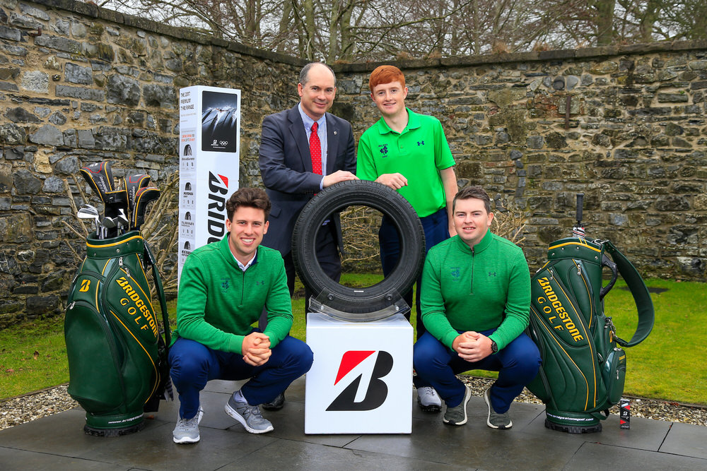Colm Conyngham (Marketing and Public Relations Manager, Bridgestone Tyres, Ireland) with Alex Gleeson (Castle), Ronan Mullarney (Galway) and Caolan Rafferty (Dundalk) pictured at the launch of the Bridgestone Orders of Merit at GUI Headquarters. 19 February 2018. Picture: Golffile | Fran Caffrey