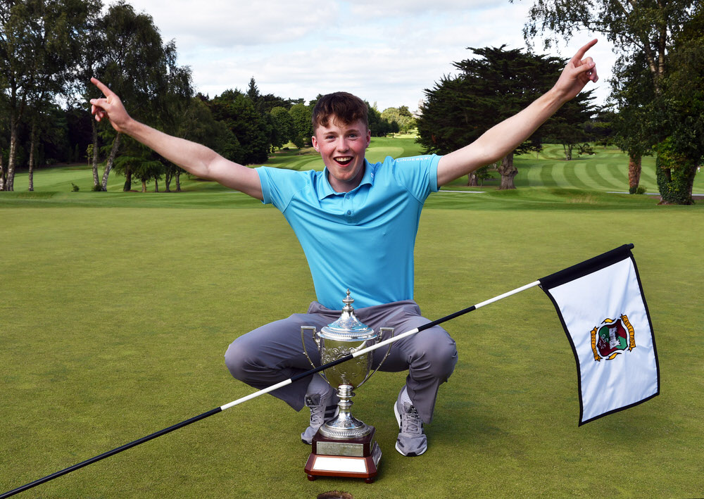 2017 Boys International Order of Merit winner Mark Power (Kilkenny) celebrates retaining the  Irish Boys Amateur Open Championship at Castletroy Golf Club in 2017. Picture by  Pat Cashman