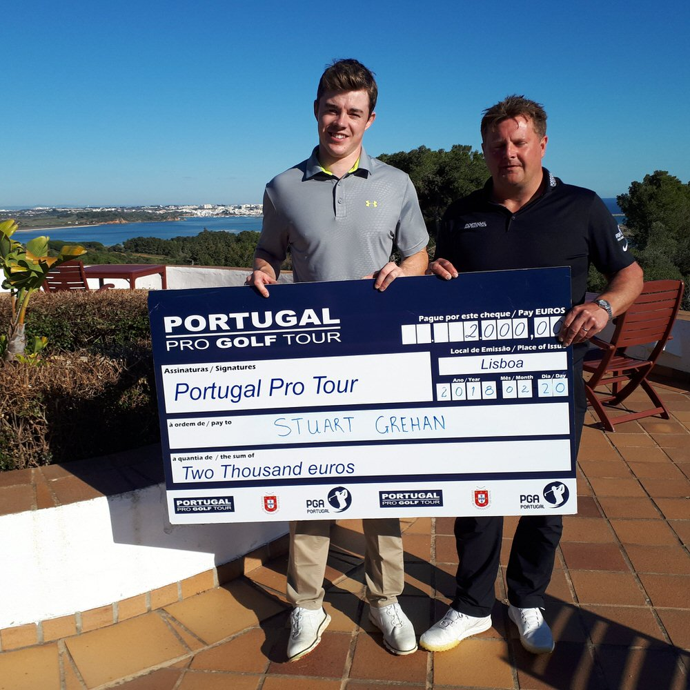 Stuart Grehan  with his first big cheque