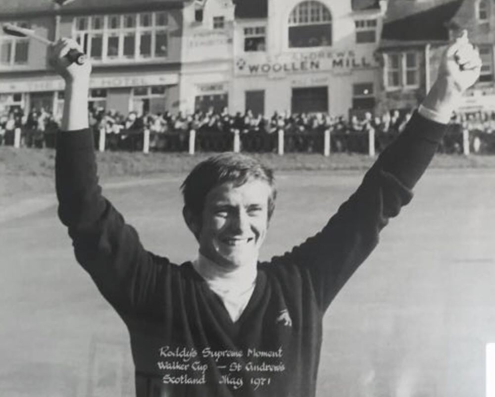 Roddy Carr celebrates his singles victory over J.B. Simons at St Andrews in the 1971 Walker Cup, played on the Old Course at St Andrews