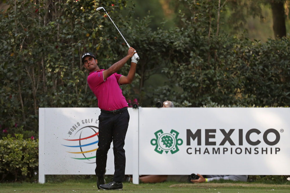 Shubhankar Sharma of India plays his shot from the 17th tee during the third round of World Golf Championships-Mexico Championship at Club de Golf Chapultepec, Mexico City. Photo by Rob Carr/Getty Images