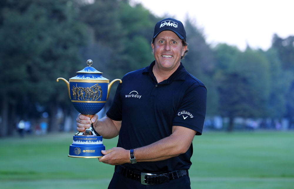 Phil Mickelson of the United States holds the Gene Sarazen Trophy after his play-off win during the final round of the World Golf Championships-Mexico Championship at the Club de Golf Chapultepec on March 4, 2018 in Mexico City, Mexico.  (Photo by David Cannon/Getty Images)