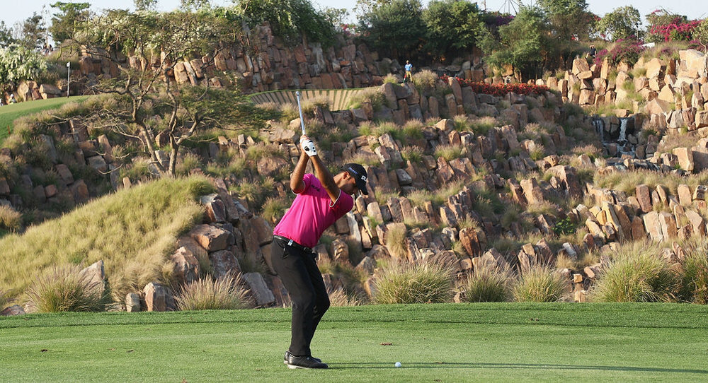 Shubhankar Sharma of India plays his second shot from the 17th fairway during day two of the Hero Indian Open at Dlf Golf and Country Club on March 9, 2018 in New Delhi, India. (Photo by Matthew Lewis/Getty Images)