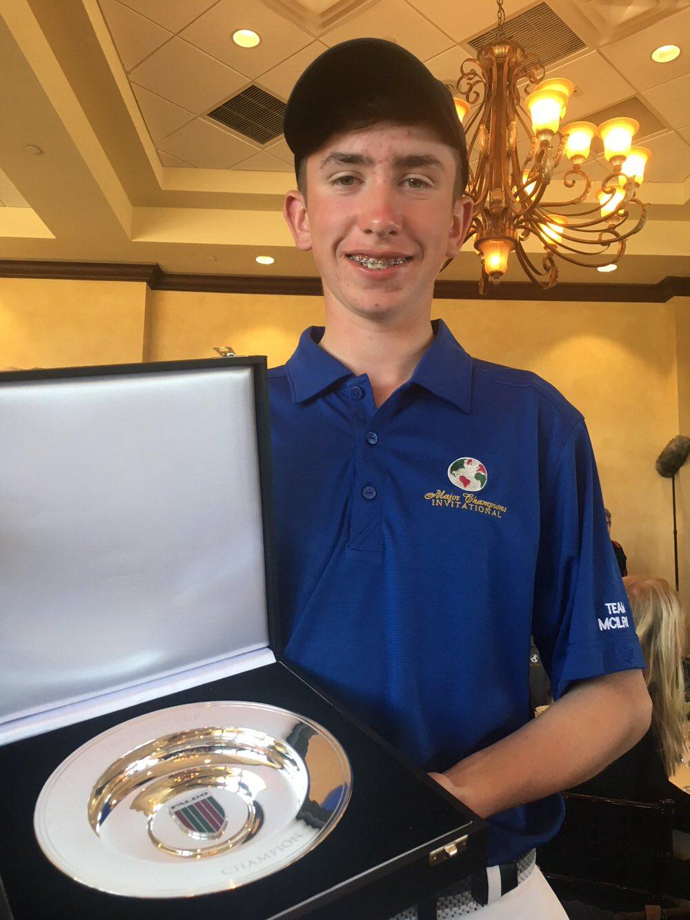 Tom McKibbin with the trophy