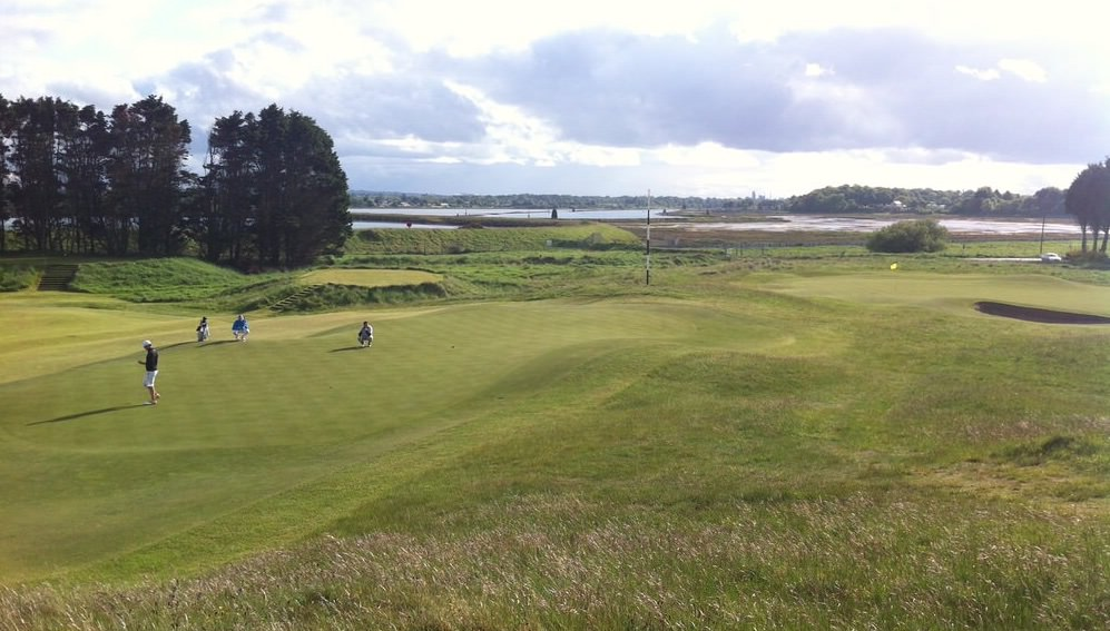 The third green at County Louth with the 10th green in the background